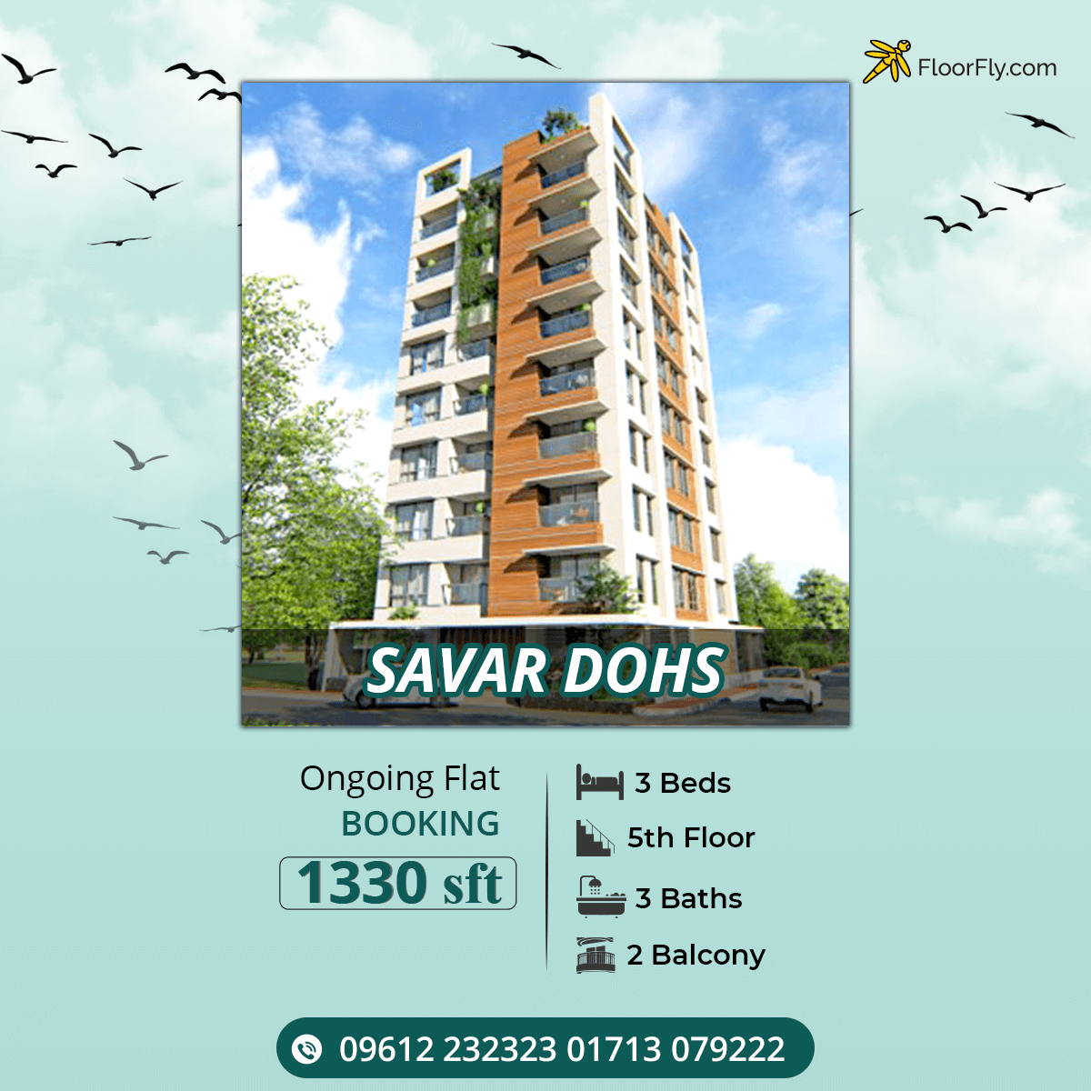 Exclusive 1330 sft Flat For Sale at DOHS, Savar