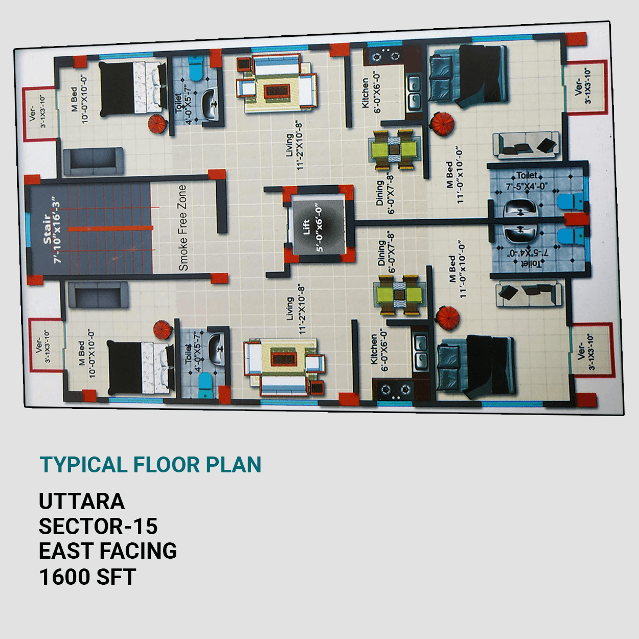 Exclusive 1600 sft Flat For Sale at Uttara