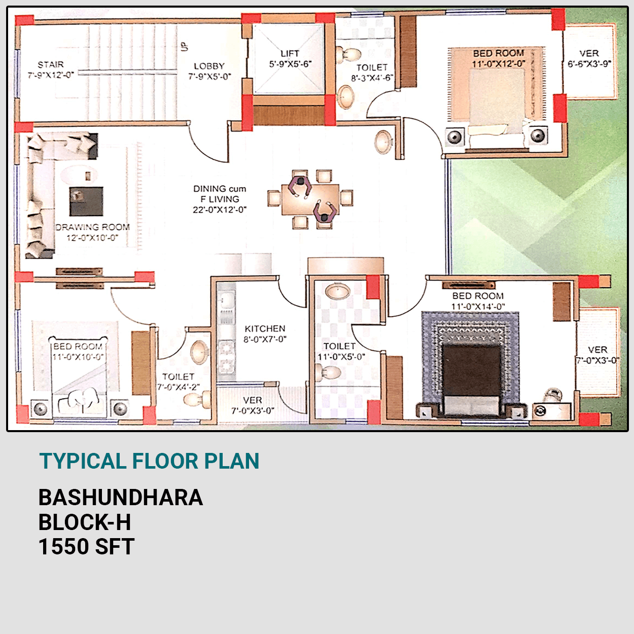 Exclusive 1550 sft 3 Bed Flat For Sale at Bashundhara