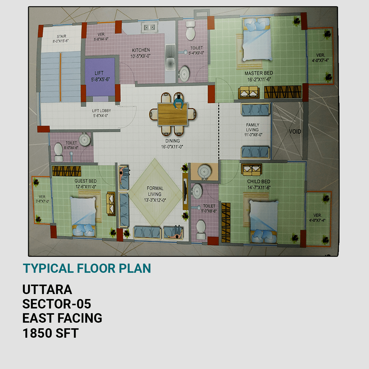 Exclusive 1850 sft Flat For Sale at Sector 5, Uttara Dhaka